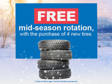 Free rotation with the purchase of 4 new tires