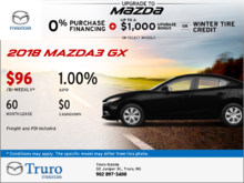 Save on an all-new 2018 Mazda3 GX today!