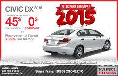 Louez la nouvelle Honda Civic DX 2015 à partir de 45$ par semaine