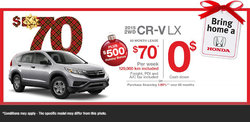Lease the All-New 2015 Honda CR-V LX starting at $70/weekly