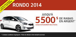 Liquidation du Kia Rondo 2014 avec 5500$ de rabais