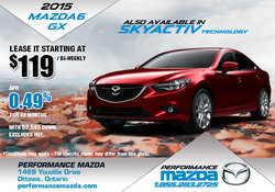 Lease the all-new 2015 Mazda6 from $119