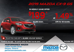 Lease the 2015 Mazda CX-9 GS from $189