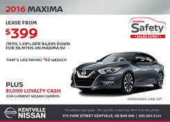 Nissan - Save on the 2016 Nissan Maxima!