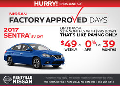 Nissan - Lease the 2017 Nissan Sentra Today!