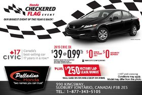 Lease the 2015 Honda Civic DX for as low as $39 weekly!