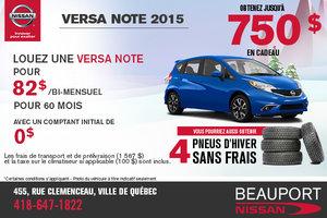 Le nouvelle Nissan Versa Note 2015: location à 82$ bi-mensuel
