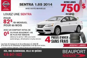 Louez la Nissan Sentra 1.8S 2014 à partir de 82$ bi-mensuel + 4 pneus d'hiver sans frais