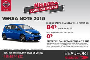 Le nouvelle Nissan Versa Note 2015: location à 84$ bimensuel