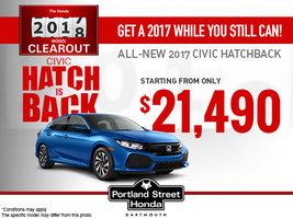 Save Big on the New 2017 Civic Hatchback!