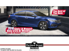 2018 Civic LX Manual for $125 Bi-Weekly plus tax with ZERO DOWN!