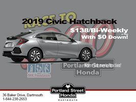 2019 Honda Civic Hatchback for $138 bi-weekly + tax with $0 down!