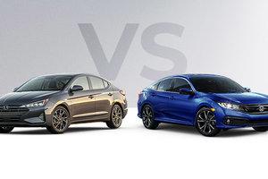 2019 Hyundai Elantra vs 2019 Honda Civic in Montreal