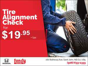 Tire Alignment Check for $19.95!