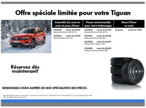 Promotion  spéciale pneus d'hiver pour votre Tiguan