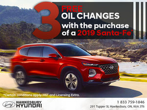 2019 Santa-Fe: 3 Free Oil Changes