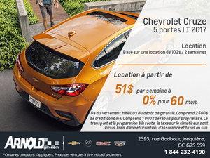 La Chevrolet Cruze Hatch LT 2017 en location