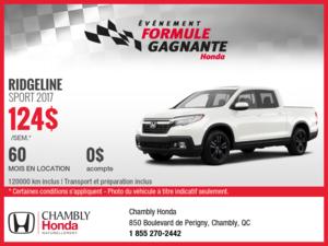 Obtenez la Honda Ridgeline Sport 2017