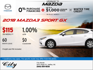 Drive Home the 2018 Mazda3 Sport GX Now!