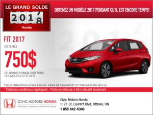 Économisez sur la Honda Fit 2017 dès aujourd'hui!
