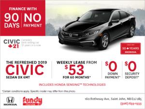 Lease the 2019 Honda Civic Sedan!