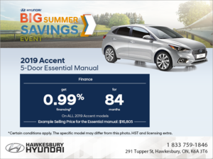 Finance the 2019 Accent 5 Door!