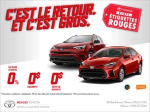 C'est la vente d'étiquettes rouges de Toyota!