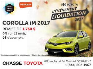 Le Corolla iM 2017 en rabais