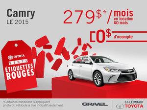 La Toyota Camry 2015 à 279$/mois