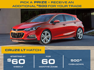 Lease from 60$/ weekly for 2018 Cruze Hatchback
