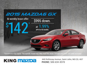 Get an all-new 2015 Mazda6 GX today!