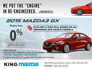 Drive home the 2015 Mazda3 GX today