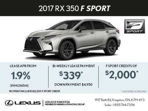 Lease the Brand-New 2017 RX 350 F Sport Today!