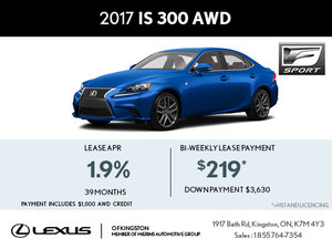 Lease the Brand-New 2017 Lexus IS Today!