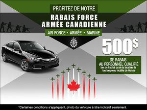Profitez de notre rabais Force Armée Canadienne