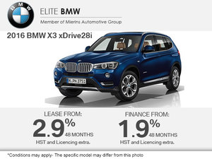 Get the 2016 BMW X3 Today!