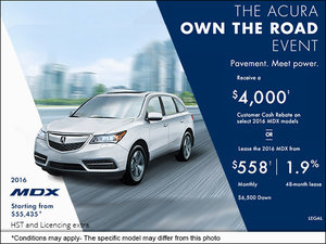 Drive Home the All-New 2016 Acura MDX Today!