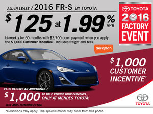 Lease the new 2016 FR-S Today!