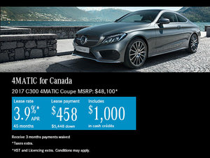 Lease the 2017 Mercedes-Benz C-Class 300 4MATIC Coupe