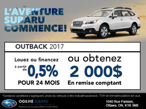 Obtenez le Subaru Outback 2017