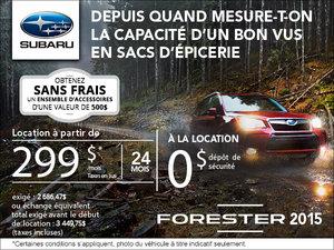 Le nouveau Subaru Forester 2015 en location à partir de 299$ par mois