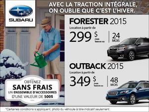 Louez le Subaru Outback 2015 à partir de 349$/mois. Le Forester à 299$/mois