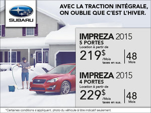 Subaru Impreza 5 portes 2015 en location à 219$ par mois