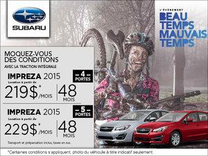 Louez la Subaru Impreza 4 portes 2015 à partir de 219$ mensuellement