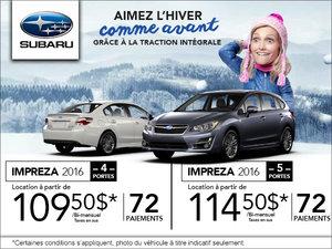 Louez la Subaru Impreza 4 portes 2016 à partir de 109.50$ bi-mensuellement