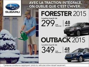 Louez le Subaru Outback 2015 à 349$ par mois$. Le Forester à 299$ par mois