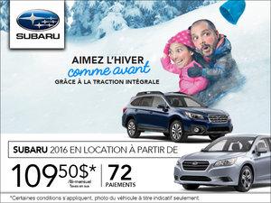 Pendant l'événement Aimez l'hiver comme avant, louez un Subaru à partir de 109.50$!