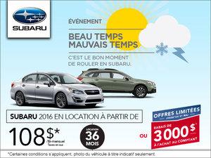 C'est l'événement Beau temps mauvais temps chez Subaru!