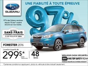 La Subaru Forester 2016 en location à  299$/ mois