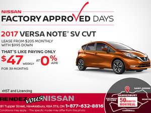 Drive Home the All-New 2017 Nissan Versa Note Today!